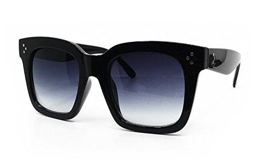 O2 Eyewear 7222 Premium Oversize XXL Women Men Mirror Fashion Sunglasses (Oversized, BLACK)