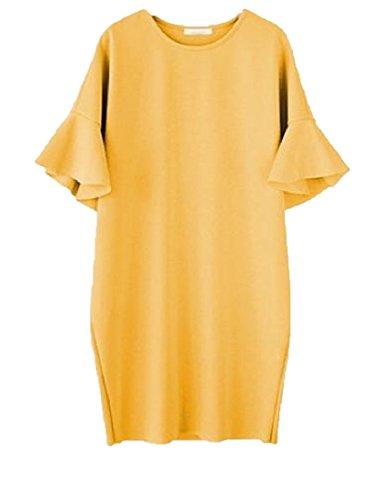 Mid Casual As2 Hem Women's Crewneck Coolred Flounced Dress Plus Size xwYFnZ0q