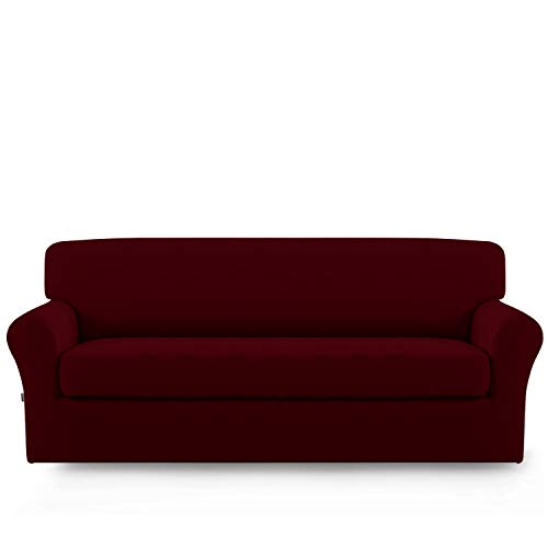 (Stretch Sofa Slipcover,2-Piece Sofa Cover Furniture Protector Couch Micro Fiber Super Soft Sturdy with Elastic Bottom Pets,Kids,Children,Dog,Cat(Sofa,Wine))