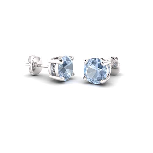 Diamondere Natural and Certified Aquamarine Solitaire Stud Earrings in 14K White Gold |0.96 Carat Earrings for Women ()