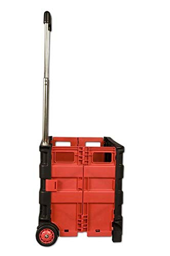 Creative Mark Austin Supply Roller Crate - for Carrying Gear, Art Materials, Books, Shopping Bags, and More with Minimal Effort - [Red and Black | 14'' x 14.5'' x 11.75''] by Creative Mark