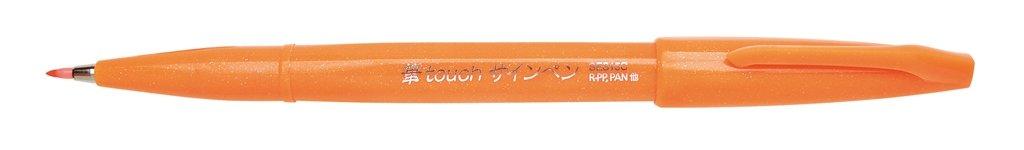 Pentel Fude Touch Sign Pen, Orange, Felt Pen Like Brush...