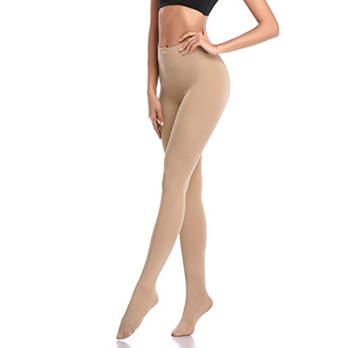 Opaque Control Top Tights for Women-Thermal Winter Tights (Beige, M)