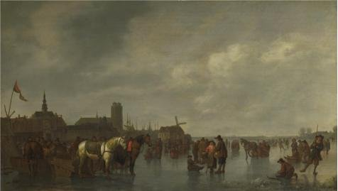 [Oil Painting 'Abraham Van Calraet - Scene On The Ice Outside Dordrecht,about 1665' Printing On Perfect Effect Canvas , 24x42 Inch / 61x108 Cm ,the Best Basement Gallery Art And Home Gallery Art And Gifts Is This Best Price Art Decorative Canvas] (Rolling Dance Costumes Carrier)