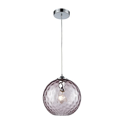 Watersphere 1 Light Pendant (Watersphere 1 Light Pendant In Polished Chrome With Purple Hammered Glass - Includes Recessed Lighting Kit)