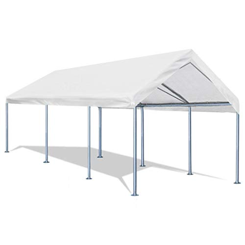 Quictent 10'x20' Carport Heavy Duty Car Canopy Galvanized Car Boat Shelter with 4 Reinforced Steel Cables ()