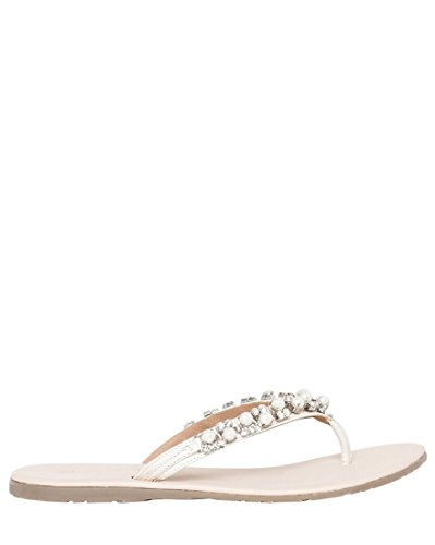 LE CHÂTEAU Women's Jewel Embellished Leather Thong Flat Sandal,38,Nude