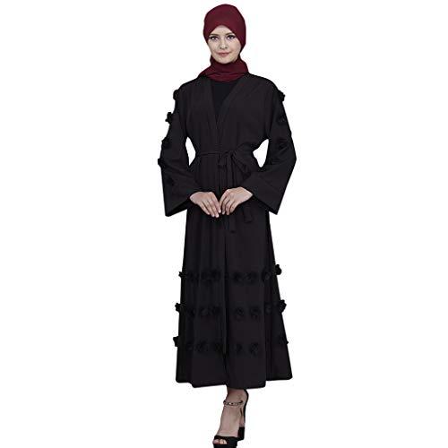 (Sunyastor Muslim Maxi Dress Women's Muslim Islamic Long Trumpet Sleeve Fluffy Abaya Long Skirt Robe Gowns Tunic with Belt)