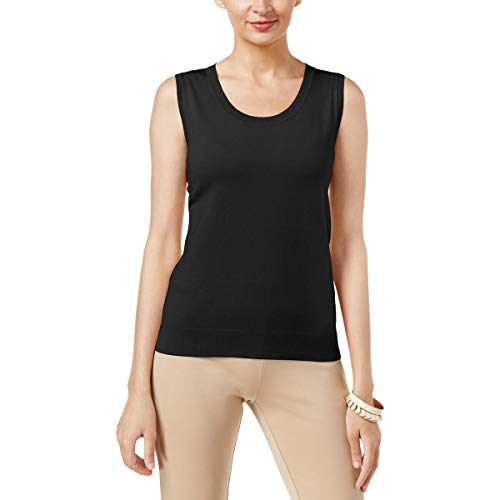 August Silk Womens Silk Blend Jewel Neck Pullover Sweater Black L ()
