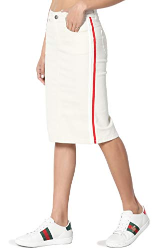 TheMogan Women's Contrast Side Stripe Mid Rise Stretch Denim Midi Skirt Off White M ()