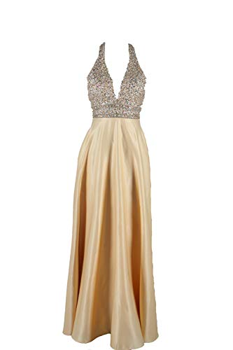 Halter Prom Dresses Beading V-Neck Party Dresses 2019 Gold Hollow Evening Dresses