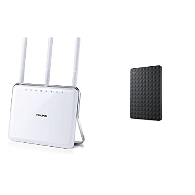 TP-LINK Archer C9 AC1900 Dual Band Wireless AC Gigabit Router, 2.4GHz 600Mbps+5Ghz 1300Mbps, 1 USB 2.0 Port & 1 USB 3.0 Port, IPv6, Guest Network and Seagate 3TB Expansion Portable Hard Drive