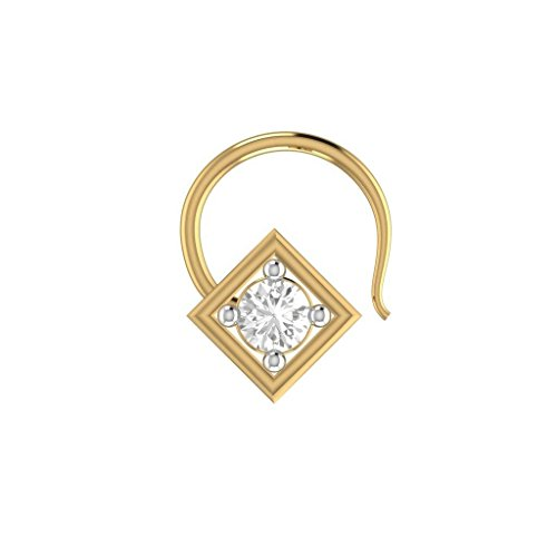bbamjewelry Women's Cubic Zirconia Square Frame 14K Yellow Gold Engagement Nose Piercing Stud Pin (14k Yg Frame)