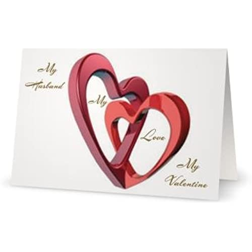 Valentines Day Love Husband Heart Romantic Hearts Spouse Greeting Card (5x7) by QuickieCards. Always Fast FREE Sales
