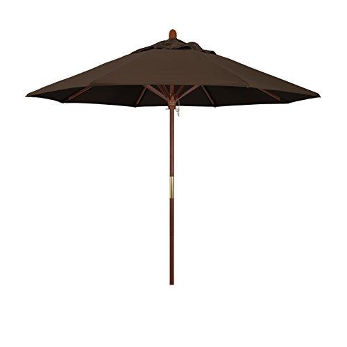 (California Umbrella 9' Round Hardwood Frame Market Umbrella, Stainless Steel Hardware, Push Open, Pacifica Mocha)