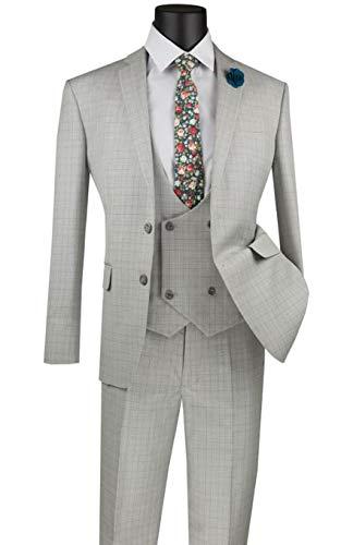 VINCI 2 Button Single Breasted Slim Fit Glen Plaid Suit W/U Vest SV2W-5-Silver-42R