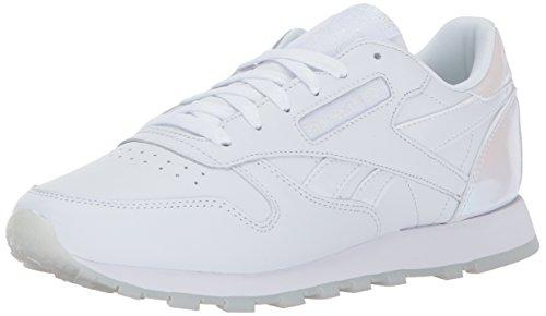 - Reebok Women's CL Lthr L Track Shoe, pearl- white/white/ice, 7.5 M US