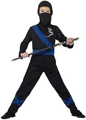 Smiffys-21073S Disfraz de Asesino Ninja, con Capucha, máscara, Parte de Arriba y, Color Negro y Azul, S-Edad 4-6 años (SmiffyS 21073S)