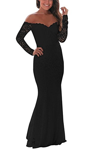 Sequin Scalloped (made2envy Crochet Off Shoulder Maxi Evening Party Dress (XL, Black) LC61847BXL)