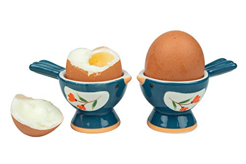 2 Pack Bird Cups - WD- 2 Pcs Cute Bird Shape ceramic egg cups for soft boiled eggs (Egg holder) - for Breakfast Brunch Soft Boiled Egg Holder Container Stand Set kitchenware,home decoration or even a gift Grayish blue