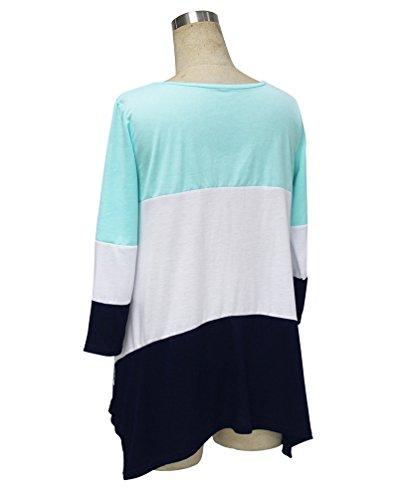 NiSeng Camisetas Mujer Blusas de Manga 3/4 de Encaje Casual Rayas Cuello Redondo Suelto Top Verde