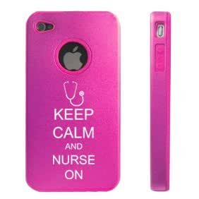 Apple iPhone 4 4S Hot Pink D6262 Aluminum & Silicone Case Cover Keep Calm and Nurse On Stethoscope