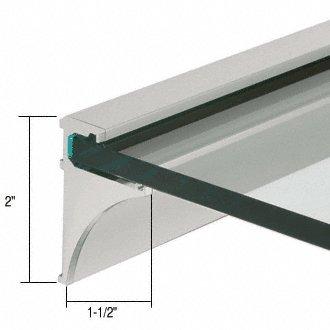 Brushed Nickel 18'' Aluminum Shelf Kit for 1/4'' Glass