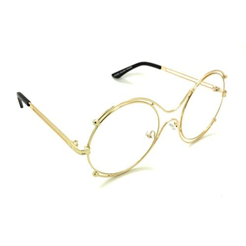 454e02a744 Round Double Oversized Sunglasses Metal Wire No Prescription Clear Lens  Gold Circle Frame Glasses 80%