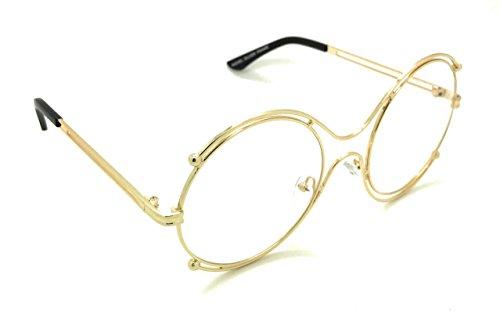 96dba8e5c12 Round Double Oversized Sunglasses Metal Wire No Prescription Clear Lens  Gold Circle Glasses - Buy Online in Oman.
