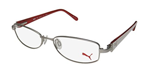 Puma 15356 Femto For Ladies/Women Flexible Hinges Comfortable Hard Case Trendy Optimal TIGHT-FIT Designed For Active Lifestyles Eyeglasses/Eye Glasses (50-16-135, Silver/White) (Lifestyle-brille)