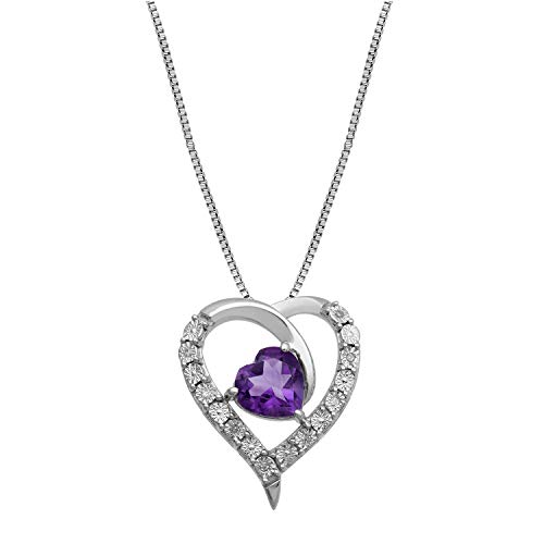 Diamond Accented Heart Pendant - Jewelili Sterling Silver 8mm Heart Amethyst and Round Diamond Accented Heart Pendant Necklace, 18