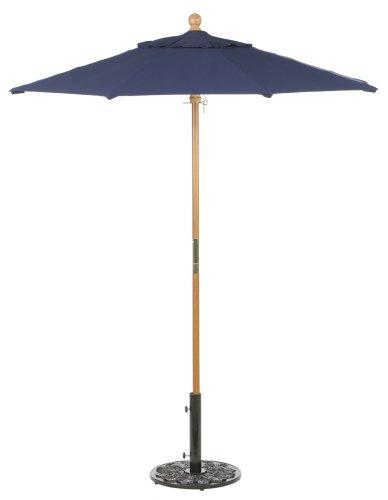 Oxford Garden Sunbrella 6-Foot Market Umbrella, Navy (Teak Sunbrella Shade)