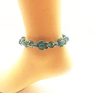 INSANEY Starfish or Turtle Charm Turquoise Stretch Anklet Bracelet