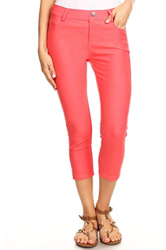 (ICONOFLASH Women's Plus Size Coral 5 Pocket Capri Jeggings XL - Pull On Skinny Stretch Colored Jean Leggings Size X-Large)