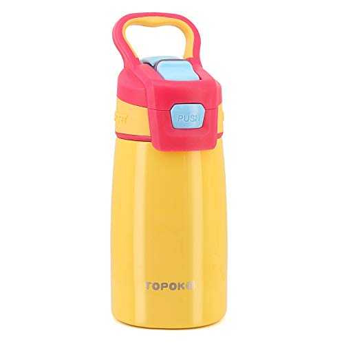 TOPOKO AUTO FLIP 12 OZ Stainless Steel Kids Water Bottle for Girls Double Wall Beverage Carry Kid Cup Vacuum Insulated Leak Proof Thermos Handle Spout BPA-Free Sports Bottle for Boys(Yellow)