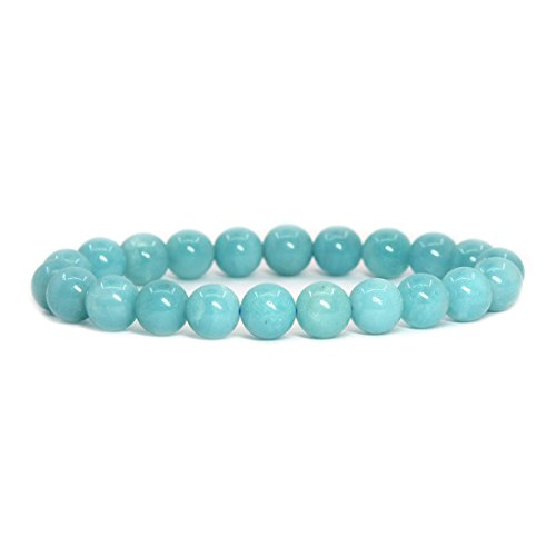 (Justinstones Natural Blue Amazonite Gemstone 8mm Round Beads Stretch Bracelet 7