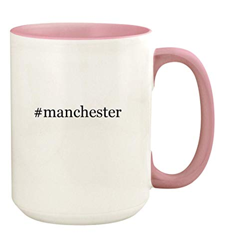 #manchester - 15oz Hashtag Ceramic Colored Handle and Inside Coffee Mug Cup, Pink (Manchester City Shoe Bag)