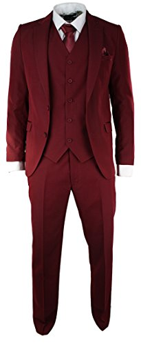 TruClothing Mens Slim Fit Burgandy Suit 5 Piece Satin Trim Prom