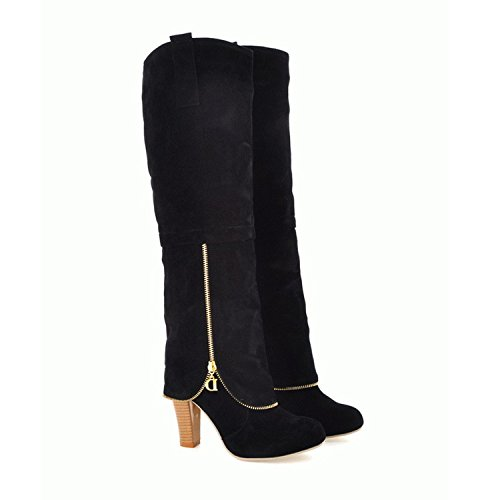 Damen-High-Heel aus Velourslederimitat, knielange Stiefel Grau
