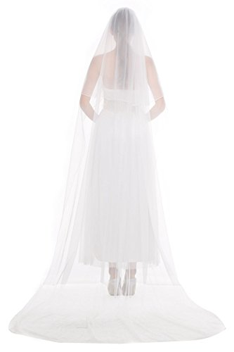 Wedding Bridal Veil with Comb 2 Tier Pencil Edge Long Cathedral Length 118\