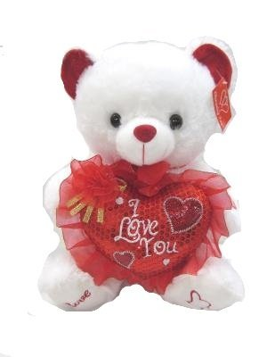 (Musical Valentine Bear Plush White Teddy Bear with Heart