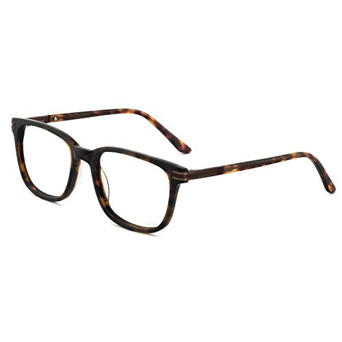 Men's Eyeglasses Frame Fashion Non Prescription Eyewear Rectangular/Square Glasses RX (Brown+Tortoise 52mm)