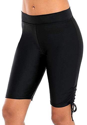 - ATTRACO Women's Swim Shorts Drawstring UPF 50+ Swim Capris Board Shorts Swimsuit Bottom 2XL