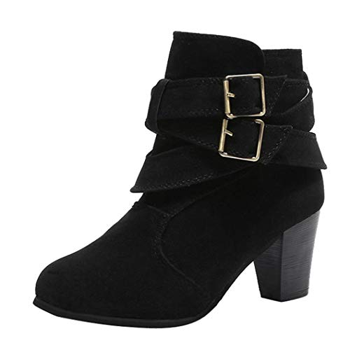 UOKNICE Women Casual Flock Buckle Strap Shoes Martain Boots Suede Ankle Boots High Cone Heeled Boot(Black, CN 39(US 7)) -