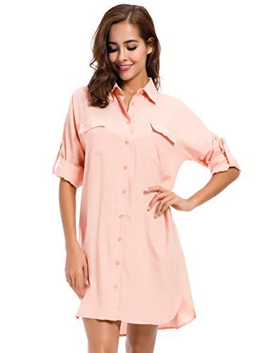 MOQUEEN Womens Button Down Boyfriend Shirt Dress Long Sleeve Basic Blouse Tunic ()