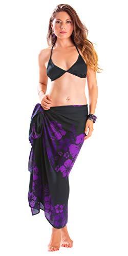 d794d5917d 1 World Sarongs Womens Fringeless (TM) Floral Sarong Amethyst Magic Purple  and Black
