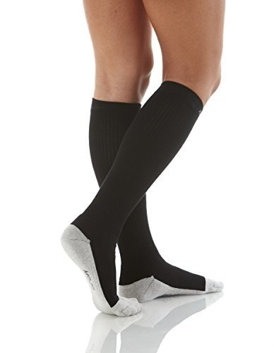 Compression Sport Socks with Silver Embedded Foot and Heel - Firm Support (XL, Black) (Male Power Super Sock compare prices)