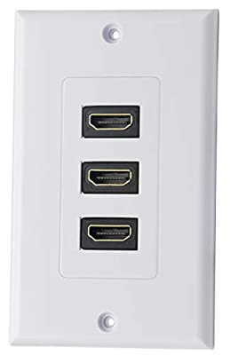 CGTime 3RCA+HDMI+VGA Wall Plate HDMI Component Composite Audio Video Wall Charger Outlet Mount Socket Face Plate Panel Cover White(3RCA&HDMI&VGA)