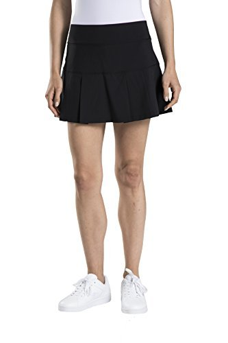 Prince Women's Stretch Woven Pleated Tennis Skort, Black, (Control Pleated Skirt)