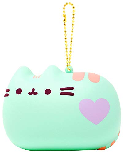 Hamee Slow Rising [Squishy Collection] Pusheen Gray Tabby Cat [Pastel Mint] Pusheen Series Ball Chain Adorable Soft Stress Relief Toy for Kids and Adults, Pastel Mint Green with Purple & Pink]()